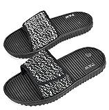SLR BRANDS Men's Slides Slip On Sandal Slipper Comfortable Adjustable Velcro Shower Beach Shoe Anti-Slip Flip Flop (11 D(M) US, Gray/Black)