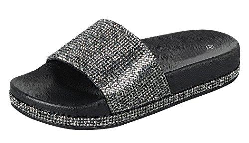 (Cambridge Select Women's Open Toe Crystal Rhinestone Studded Glitter Slip-On Flat Slide Sandal (5.5 B(M) US, Black))