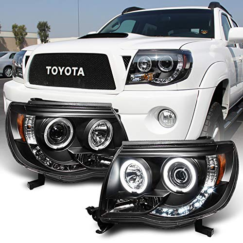 ACANII - For 2005-2011 Toyota Tacoma LED DRL Halo Ring Black Housing Projector Headlights Headlamps, Driver & Passenger Black Housing Projector Headlights