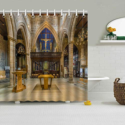 (Rui-Qi Polyester Shower Curtain - Amazing Wakefield Cathedral Rood Screen Design for Bathroom,12 Curtain Hooks Included, 65