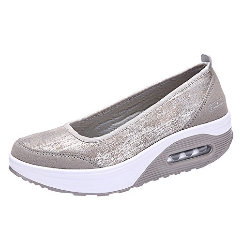 Clearance!Women Fashion Sport ShoesLady Air Cushion Platform Shoes Shake Shoes Slip,Increased Bottom Casual Shoes (38, Gray)