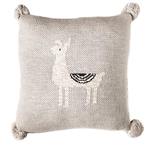 Linen Perch Baby Nursery Llama Throw Pillow - Baby Throw Cushion Cover and Insert for Nursery Decor - Decorative Toddler Accent Pillow for Crib or Chair - Unisex Baby Pillow 12 x 12 inches (Natural)