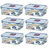 (Pack of 6) Lock & Lock Airtight Rectangular Food Storage Container 11.83-oz / 1.48-cup
