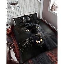 Duvet Cover Set 3d Animal Print Quilt Bedding Sets With Pillow Cases Poly Cotton King Size Kingsize Bed ( Black Panther , King ) by De Lavish