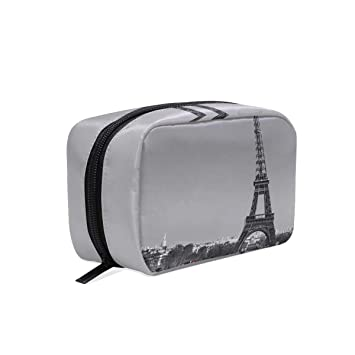 b93b50f74d39 Makeup Bags Eiffel Tower Red Floral Rose Cosmetic ... - Amazon.com