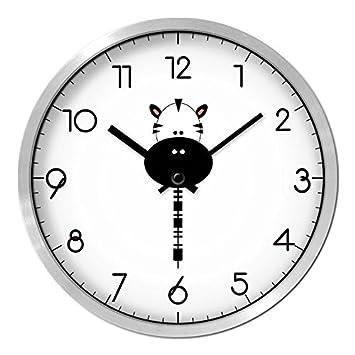 Beakjiful Sencillo Blanco Y Negro Lindo Animalito Reloj De Pared