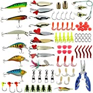 Sparkfire 89Pcs Fishing Lures Set, Fishing Bait for Trout, Bass, Salmon Including Lures Hook, Plastic Worms, C