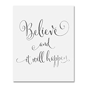 Believe and It Will Happen Silver Foil Art Print Inspirational Modern Wall Art Poster Decor 5 inches x 7 inches B16