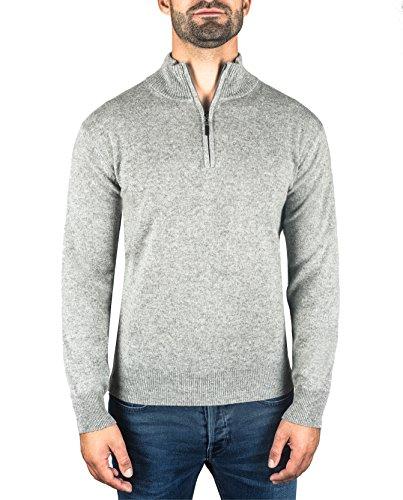 Uomo Maglione mere Con s xxl Pullover Da Sweater 100 Grigio Cash Cachemire Cerniera ch Colletto dzwqpIIH