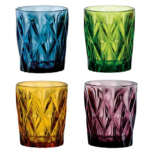 Artland High Gate 12 oz Colors Double Old Fashion Glass in a Gift Box (Set of 4), Small, Assorted