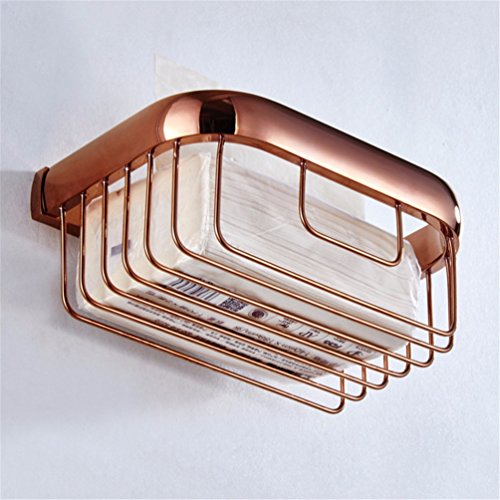 (LAONA European-style rose gold-copper minimalist bathroom accessories set single double bar toilet paper holder Toilet brush, paper towel and basket )