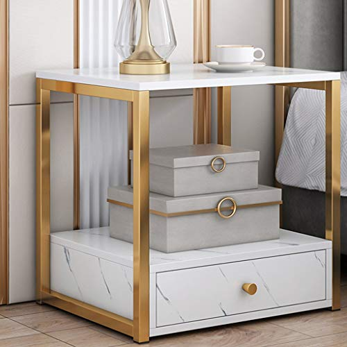 Modern Bedside Cabinets, Faux Marble Table Nightstand, Top and Gold Metal Frame, Bed Sides Table with A Drawers, for…