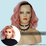 New Fashion Top wigs Pink Hair Color Ombre Cut Curly Bob Wigs Brazilian Human Hair Lace Front Wigs For Women (14inch 150dengsity)