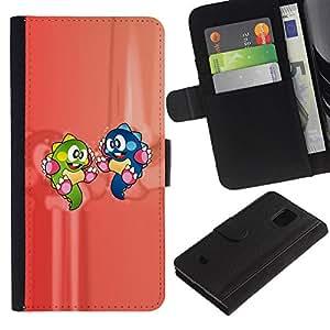 Samsung Galaxy S5 Mini / SM-G800 (Not For S5!!!) , la tarjeta de Crédito Slots PU Funda de cuero Monedero caso cubierta de piel ( Cartoon Characters Dinosaur Colorful Green Blue)