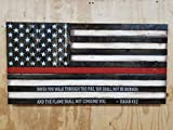 Wooden Rustic-Style Thin Red Line American Flag w/ Isaiah 43''2 Verse (19''x37'')