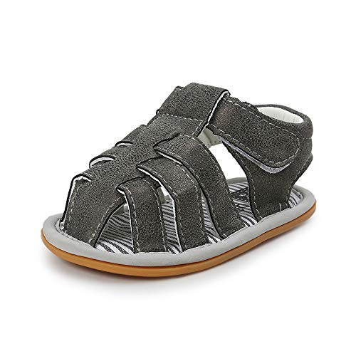 (Babelvit Infant Baby Boys Summer Sandals Soft Rubber Sole Non-Slip First Walkers Shoes (12-18 Months M US Toddler, A-Black))