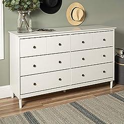 Bedroom Walker Edison Wood Dresser Bedroom Storage Drawer Organizer Closet Hallway, 6, White