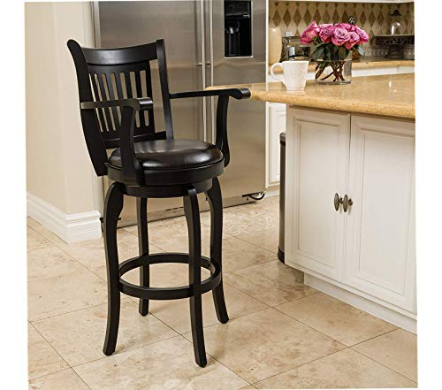 Wood & Style Prescott 30in Espresso Leather Swivel Bar Stool with Arm Decor Comfy Living Furniture Deluxe Premium Collection