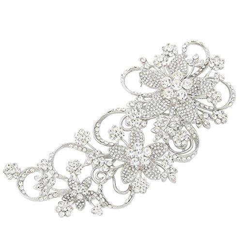 EVER FAITH Bridal 6.5 Inch Teardrop Floral Petal Brooch Clear Austrian Crystal Silver-Tone