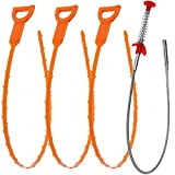 Tools & Hardware : Vastar AG02 4 in 1 Drain Snake Hair Drain - 3 Pack Drain Auger Clog Remover Cleaning Tools & 1 Pack Drain Relief Tool