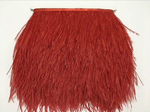 ADAMAI Natural Ostrich Feathers Trims Fringe DIY Dress Sewing Crafts Costumes Decoration Pack of 2 Yards (red) -