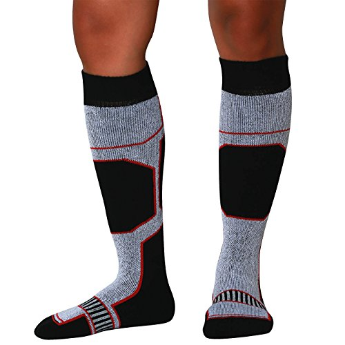 Snowboard Socks - Comfortable Warm Outdoor Socks for Skiing and Snowboarding - Warm Board Socks, Ski Socks for Men and Women (Black-White-Red, Medium)