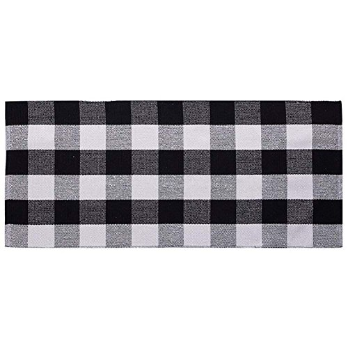 Levinis Buffalo Checked Kitchen Mat Black and White Area Rugs for Living Room/Bedroom, 100% Cotton Gingham Hand-woven Checkered Kitchen Rugs, 23.6x70.8