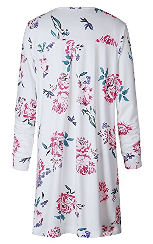 Minetom Mujeres Verano Cárdigan Moda Manga Larga Casual Suelto Impreso Floral Kimono Cardigan Tops Cubrir la Blusa Blanco