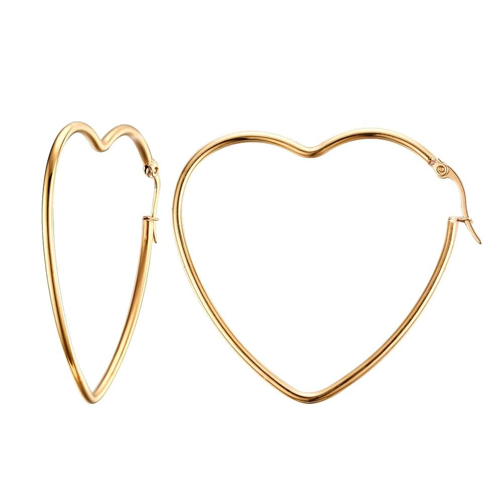 UM Jewelry Stainless Steel Womens Love Heart Big Hoop Earrings Gold Tone 880178&CA
