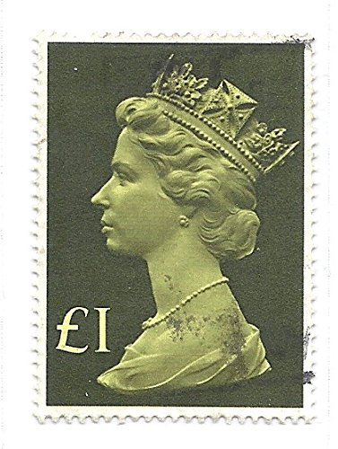 - 1977 UK (England) 1 Pound Scott #MH169 Postage Stamp Definitive Large Format Queen Elizabeth II
