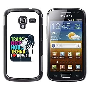 TECHCASE**Cubierta de la caja de protección la piel dura para el ** Samsung Galaxy Ace 2 I8160 Ace II X S7560M ** Trance Techno Music House Electro Love Quote