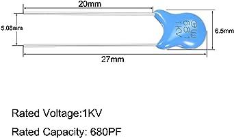 60 Stk Keramikkondensator 1KV 330PF Scheibenkondensatorenn Schaltkreis Blau