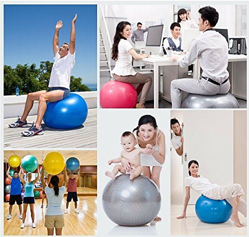 Exercise Gym Yoga Ball Foot Air Pump Inflator PVC Anti Burst Slip Resistant Yoga Ball Thickening Fitness ball Yoga Ball 65CM Explosion proof Slimming Body Exercise Gym Core Exercise