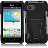 HRWireless T-Stand Kickstand Hybrid Double Layer Cover Case for LG LS720 - Retail Packaging - Black/Black