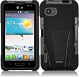 For LG LS720 T-Stand Kickstand Hybrid Double Layer Cover Case Black/Black Accessory