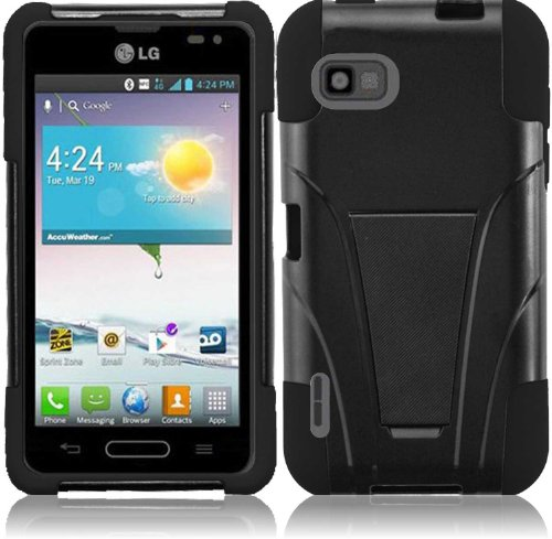 For LG LS720 T-Stand Kickstand Hybrid Double Layer Cover Case Black/Black Accessory, Best Gadgets