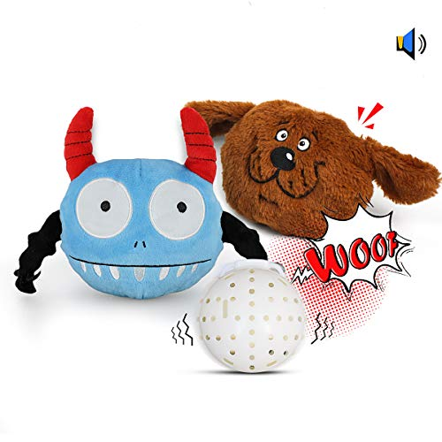 Barking Dog Ball - Pet Leso Interactive Dog Toys - Squeaky Plush Dog Toys with Electronic Shake Ball and Plush Covers for Dogs Cats, 2 Plush Toys Replacements