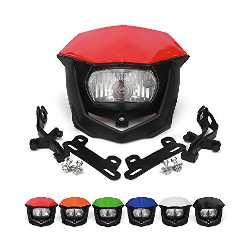Street Fighter Headlight Motorcycle Headlight Supermoto Universal Headlights Head Light For Kawasaki Honda Yamaha Suzuki CR125 CR250 CR500 CRF250R CRF450X CR 125 250 500 Pit Dirt Bike Red