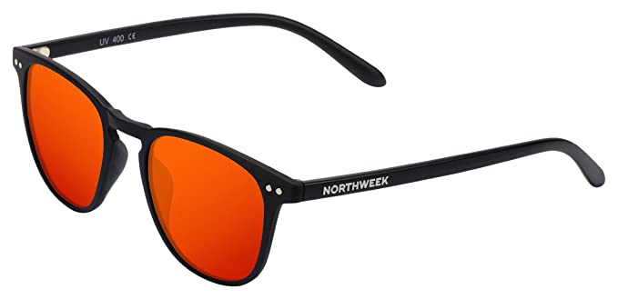 Northweek Wall, Gafas de sol Unisex, Multicolor (Matte Black/Red Polarized), 45