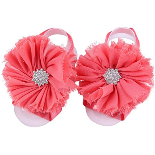 FEITONG 2016 1Pair Infant Pearl Chiffon Barefoot Toddler Foot Flower Beach Sandals (Watermelon (Watermelon Wings)