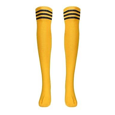1 Par De Mujeres Medias De Muslo Alto Sobre Rodilla NiñAs Calcetines De FúTbol (Amarillo): Amazon.es: Ropa y accesorios