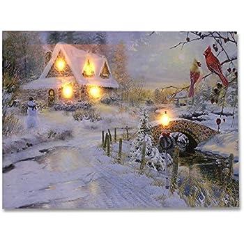 Fiber Optic Christmas Village Set