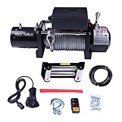 cciyu Electric Winch, 12V 10000 lbs Winches for Towing ATV/UTV/Boat Off Road with Wireless/Hand Remote Control,Solenoid Box Assembly,Roller Fairlead,Negative Wire,Hook,Bolts,Users Manual
