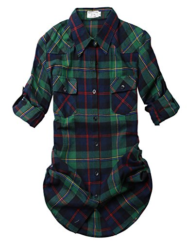 Flannel Long Sleeve Shirt - Match Women's Long Sleeve Plaid Flannel Shirt #2021(Large, Checks#2)