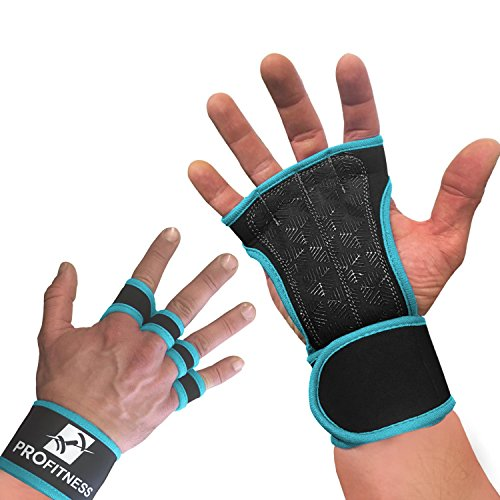 ProFitness Neoprene Workout Gloves with Silicone Non-Slip Grip – WODs, Weightlifting, Cross Training – Wrist Strap Support – Unisex for Men and Women (Turquoise, ()