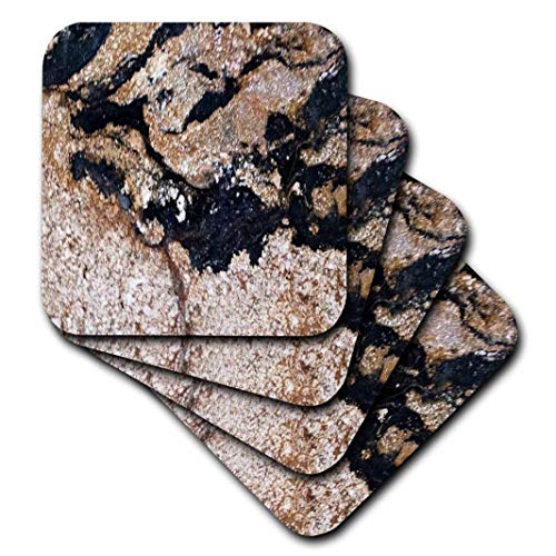 3D Rose Image of Black and Gold Speckled Granite Ceramic Tile Coasters,