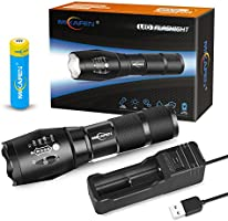 Bright Rechargeable Torch,Torches Led Super Bright with USB Charger and 18650 Battery,Best Flashlight Torch for Camping, Hiking, Auto Emergencies, and Home Repair etc