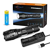 Bright Rechargeable Torch,Torches Led Super Bright with USB Charger and 18650 Battery,Best Flashlight Torch for Camping, Hiking, Auto Emergencies, and Home Repair e