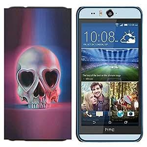 KLONGSHOP // Cubierta de piel con cierre a presión Shell trasero duro de goma Protección Caso - Muerte del corazón rosa azul del cráneo Esqueleto - HTC Desire Eye M910x //