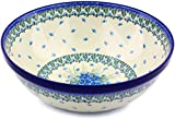 Polish Pottery Large Bowl made by Ceramika Artystyczna (Forget Me Not Theme) + Certificate of Authenticity